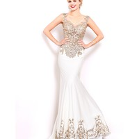 Preorder - Shail K. 3974 Ivory Sheer Bodice Fitted Embellished Gown 2016 Prom Dresses