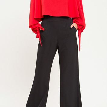 Filthy Rich Red Black Long Tie Sleeve Scoop Neck Cape Top Wide Leg Loose Bell Bottom Flare Jumpsuit