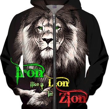 Reggae Iron Lion Zion music song quote Jamaican flag colors, full print animals hoodie