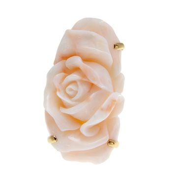 GENUINE NATURAL ANGEL SKIN CORAL CARVED FLOWER RING IN SOLID 14K YELLOW GOLD