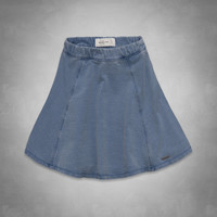 Natural Waist Denim Skater Skirt