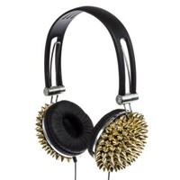 Crystal Case Spiked DJ Stereo Headphones w/ Handsfree Mic (Gold)