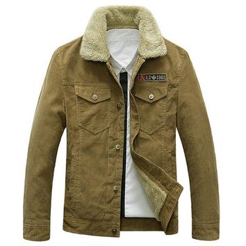 Military Style Winter Outdoor Corduroy Pockets Loose Thicken Jackets for Men