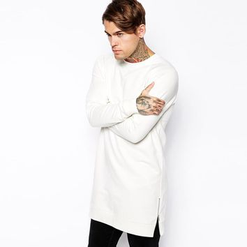 2017 US size Brandclothing longline sweatshirts thin long sweatshirt men with zipper to hip hop sweat shirts for men