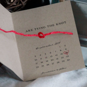 tying the knot save the date, calendar save the date, red and kraft, heart save the date, tie the knot card set of 25, tying the knot invite