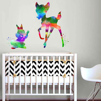 kcik2113 Full Color Wall decal Watercolor Bambi Character Disney Sticker Disney children's room Fawn