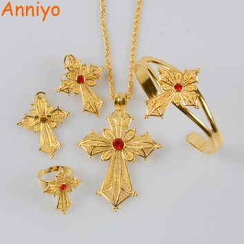 Anniyo New Ethiopian Cross Necklace Earrings Ring Bangle Jewelry sets Gold Color African Eritrean Wedding Habesha Gifts #001816
