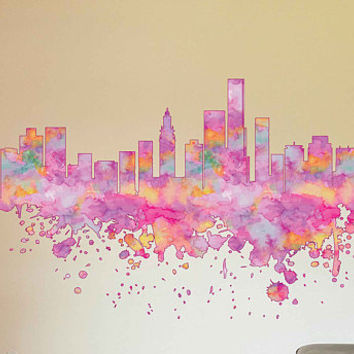 kcik1894 Full Color Wall decal Watercolor Miami city Skyline living room bedroom