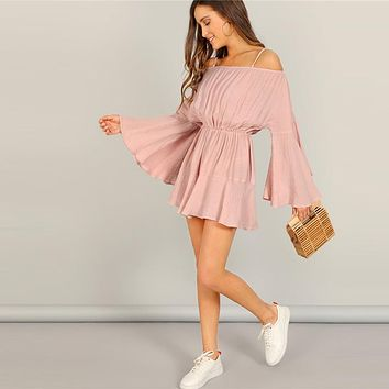 Pink Exaggerate Bell Sleeve Romper With Adjustable Plain Strappy Culottes High Waist Women Long Sleeve Playsuits