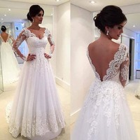 Vestidos De Novia Sweetheart Lace Backless A Line Tulle Wedding Dress Full Sleeve Bridal Dresses