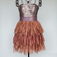 Champagne and Rust Party Dress - Bliss Salon and Boutique