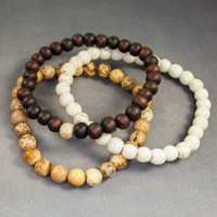 Jasper + Wood Bracelet DY-58 | Disruptive Youth
