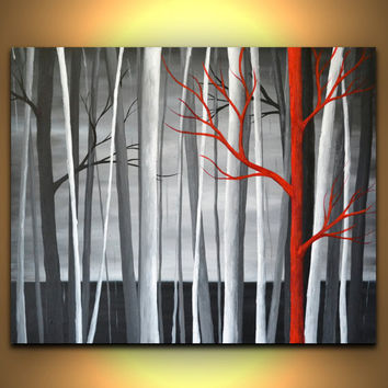 Black and white canvas wall art, abstract red trees painting, 24 x 20 modern office decor, living room wall art