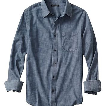 Banana Republic Mens Factory Soft Wash Chambray Shirt
