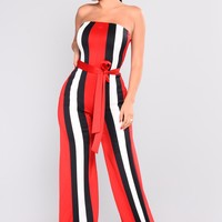 Calling All Contrast Jumpsuit - Red