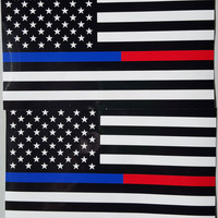 """Thin Blue & Red Line FireFighter Police respect flag Vinyl Decal Sticker 5""""X 3"""" Pack of 2 USA"""