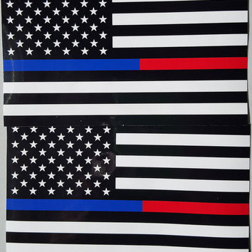 "Thin Blue & Red Line FireFighter Police respect flag Vinyl Decal Sticker 5""X 3"" Pack of 2 USA"