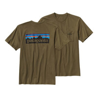 Patagonia P-6 Logo Cotton Pocket T-Shirt- Fatigue Green