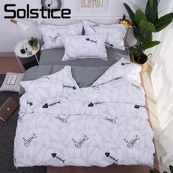 Solstice Home Textile Fish Bedlinen Kids Boy Girl Bedding Sets Teens Duvet Cover Flat Sheet Pillowcase King Queen Full Twin Size