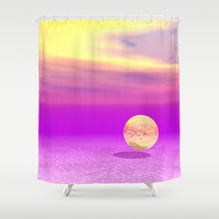 Adrift, Abstract Gold Violet Ocean Shower Curtain by Diane Clancy's Art