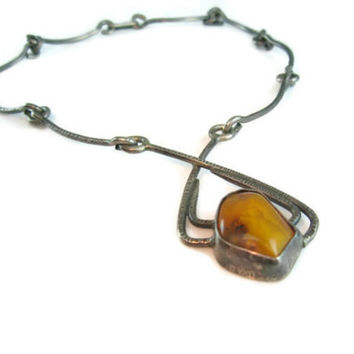 Baltic Amber Necklace. Modernist Signed ORNO Poland. Handmade Silver Statement Choker. Vintage 1960s Jewelry.
