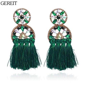 GEREIT Bohemian Tassel Long Earrings Oorbellen Statement Crystal Fringe Earring Boho Big Drop Earrings For Women Indian Jewelry