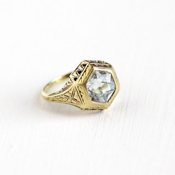 Antique 14k Yellow Gold Filigree Aquamarine Ring - Size 5 1/4 Vintage Art Deco 1920s Hexagonal Blue Gem Engagement Baskin Bros Fine Jewelry