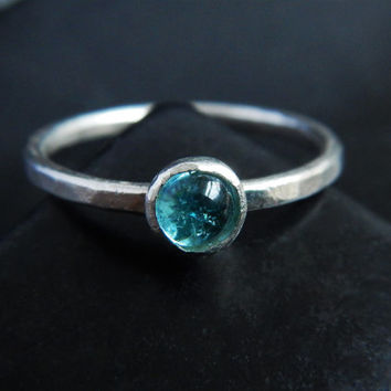 Delicate Blue Tourmaline and Sterling Silver Stacking Ring - Blue Stone Ring - Simple Gemstone Ring - Minimalist Ring - Stackable Rings