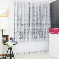 Voile Curtain Window Screens Tulle Bronzing Flower Door Tulle Curtains Window Curtains Modern Living Room Curtains 100x200 cm