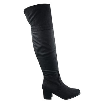 Axel1N Over Knee Foldable Boots - Women Block Heel Faux Suede Thigh High Shoe