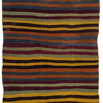 Handmade  Unique Striped Over Dyed Kilim Rug 5'5'' x 10'8'' ft 166 x 326 cm  (Free Shipping)