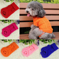 Small Pet Dog Puppy Cat Warm Sweater Clothes Knit Coat Winter Apparel Costume 3C