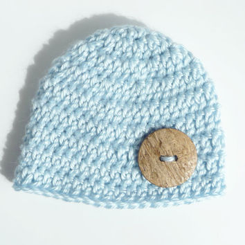 Baby Boy Hat Toddler Boy Hat Button Hat Baby Hat Crochet Hat Newborn Hat Button Beanie Infant Hat Knit Hat Blue Hat Baby Shower Gift Props