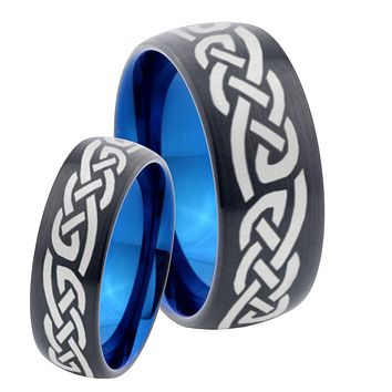His Hers Celtic Knot Infinity Loves Dome Tungsten Carbide Blue Wedding Ring Set