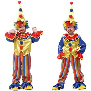 Cool Free shipping Halloween Cosplay Costumes Children Circus Clown Naughty Harlequin Fancy Fantasia Infantil for Boys Girls Dress upAT_93_12