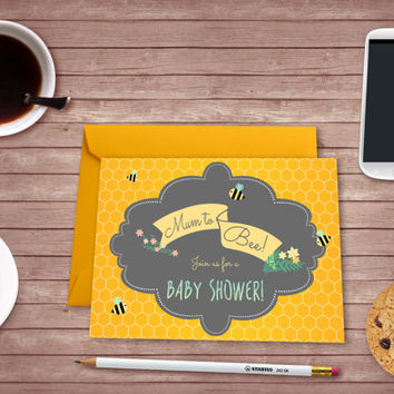 Mommy to Bee Baby Shower Printable Invite