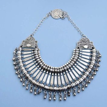 tribal necklace antique silver plated pewter. Ethnic tribal necklace silver statement necklace gypsy boho jewelry bib necklace