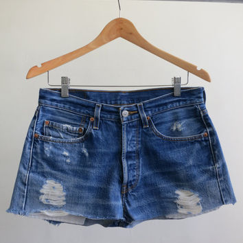 Blue Cutoff Levi Shorts by rerunvintage on Etsy