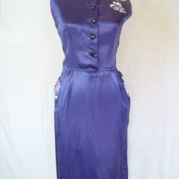 1960s Vintage Satin Cocktail Dress, with Pockets and Appliques.