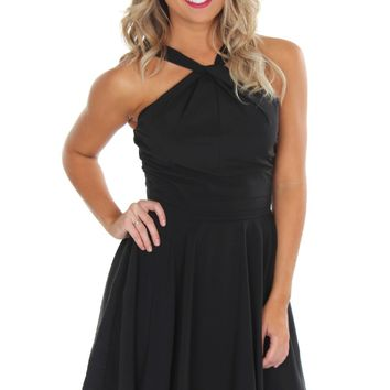 Don't Get It Twisted Neck Dress Black