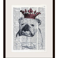 English bulldog Princess with pink crown dictionary print - on Vintage Upcycled Dictionary page - by NATURA PICTA