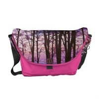 Purple And Pink Sunset Behind the Trees Bag Messenger Bags from Zazzle.com