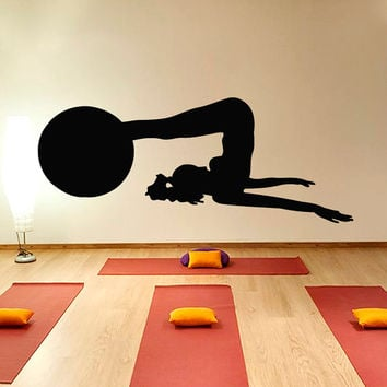 Woman with a Ball Fitness Exersice Gym Sport People Decal Vinyl Sticker Decor Home Interior Design Art Murals M758