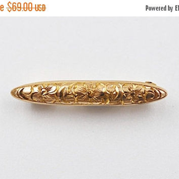 ON SALE Antique 14K Gold Art Nouveau Bar Pin Brooch, Lingerie Pin, Baby Pin, Flowers, Floral, Chased, Safety Pin Back! Sweet & Petite! #b292