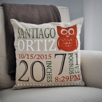 Woodland Nursery, Personalized birth pillow cover, birth Announcement pillow cover, birth pillow cover, OWL Nursery, CUSTOMIZE, 18x18