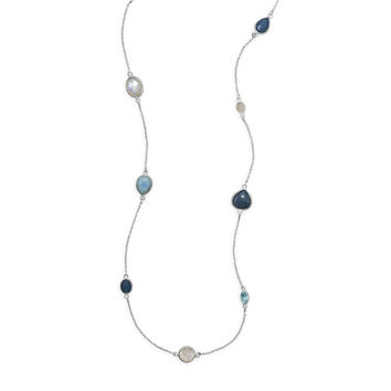 "29"" Larimar, Topaz, Aquamarine and Moonstone Endless Necklace Sterling Silver"