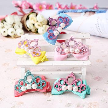 M MISM Child Hair Accessories Girl Hollow Glitter Leather Crown Hairpins Kids Barrette Shiny Tiara Bow Hair Clip Bijoux De Tete