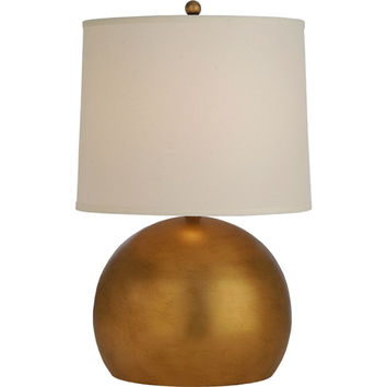 Trend TT7260-76 Latitude Hand Painted Antique Gold One-Light Table Lamp with Off-White Homespun Linen Shade