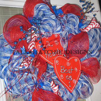 Valentine Wreath In Red & Blue Double Heart Valentine's Day Wreath Valentine Door Wreath