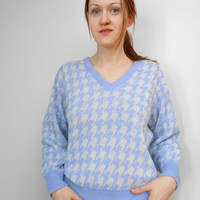 Pastel 80s SWEATER houndstooth by vivatiger on Etsy